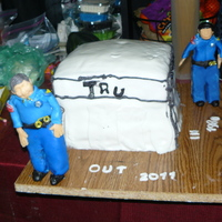 Retirement gum paste people fondant cake butter cream filling