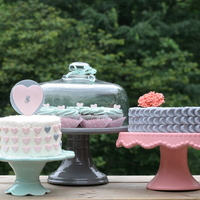 Pink And Mint Hearts Rustic cake trio in pink, mint and gray.
