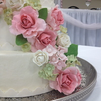 Garden Party Wedding Cake Garden party wedding cake with pink an white roses and green and pink hydrangeas.