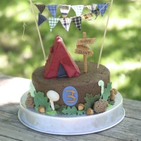 Camping Woodland Third Birthday Cake Camping cake with cake tent for a little boys 3rd birthday.