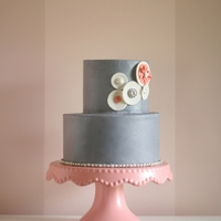 Grey And Cream Cake Made for and featured in Cake Central Magazine.