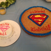 Superman Cookie Cake And Big Sister To Be Supergirl Cake