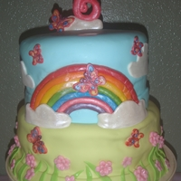 Rainbow Cake 10 inch and 8 inch cakes Covered in MMF. 6, rainbow, flowers are modeling chocolate; the rest are MMF.