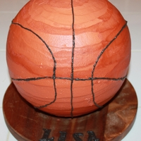 Basketball Bottom half RKT. Top half cake. Covered in buttercream.