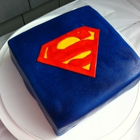 "Superdaddy 9"" square cake covered in MMF"