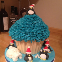 Giant Cupcake With Penguins Giant Cupcake with penguins
