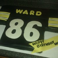 Steelers Jersey This is a cake I did for a friend for his mothers bday who is a fan of the Pittsburg Steelers. It is covered in MMF.