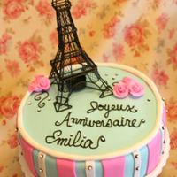 Joyeux Aniversaire Fondant (marshmallow) covered cake for a French themed birthday.