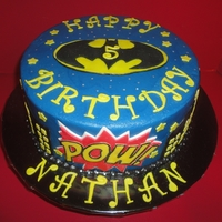 Batman!! Happy Birthday Nathan! Double fudge chocolate iced in buttercream and fondant decorations. I got the inspiration from the photos on this site but I forget the...