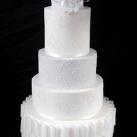 Paper & Lace Contemporary Wedding Cake   Contemporary wedding cake with cake lace and wafer paper detail