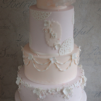 'peaches & Cream' Wedding Cake With Gumpaste And Wafer Paper Detail   one of my wedding cakes for this year, 'Peaches & Cream'