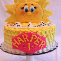 """you Are My Sunshine"" Cake Yellow ombre buttercream with rice krispie and fondant sculpted sun."