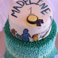 Madeline Themed Birthday Cake   Ombre Ruffle Bottom tier with Hand-painted bottom tier