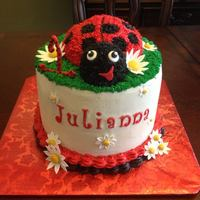 First Birthday Lady Bug *All buttercream, with fondant accents