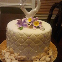 Single Layer Bachorchid Wedding Cake Single layer bach/orchid wedding cake