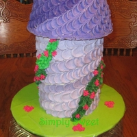 Rapunzel Tower Cake I made for my daughter's 5th b-day. Yellow cake with vanilla butter cream.