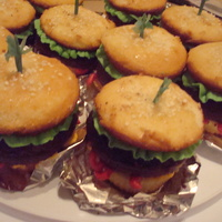 Hamburger Cupcakes  My 13-year-old made these to bring to her Pathfinder meeting. The bun is a vanilla cupcake brushed with simple syrup, and sprinkled with...