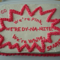 Sparks Cake We're PInk, We're White, We're Dynamite! Go Sparks! Cake I made for my daughter's sparks unit. This cake did not want...