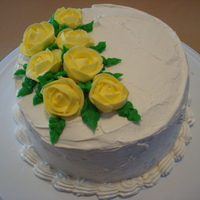 Yellow Royal Icing Roses.   This was a practice cake for my class. I made this for some friends I was getting together with.