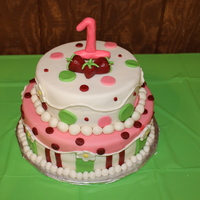 Strawberry Shortcake   White and strawberry cakes covered in MMF with all MMF decorations