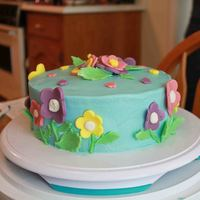 Floral Easter Cake   Buttercream icing, fondant flowers