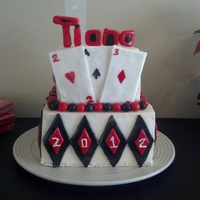 Vegas Graduation Party Cake for a Vegas Themed graduation party. First time doing a square cake without covering it in fondant. Red velvet on top and chocolate on...