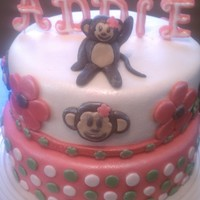 9Th Birthday Monkey Cake Cake for a dance students 9th birthday! Top tier is yellow cake with white chocolate buttercream and the bottom is chocolate with chocolate...