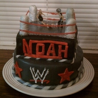 Wrestling B-Day Cake Wrestling cake for my son's 7th B-day party! Don't like the ring posts but it is okay overall!