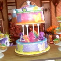 My Little Pony Butterfly Carousel Cake  My daughter turned five she wanted a carousel with my little pony horses and butterflies. The cake is was chocolate and valilla flavor with...