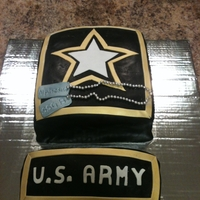 Army Red Velvet cake with cream cheese buttercream | covered in fondant Enjoy :)