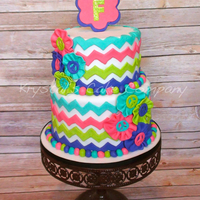 Groovy 70's Chevron Peace Sign Cake