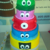 Yo Gabba Gabba Birthday Cake  5 tiers cake with 3 different cake mix, it 12inch, 10inch, 8inch, 6inch, and the top tier is 4inch but after all the buttercream it turn...