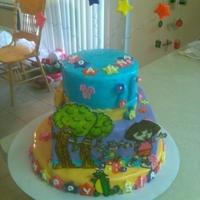 Dora Birthday Cake Dora birthday cake, picture are draw on fondant.