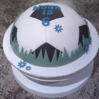 Football (Soccer) Cake Chocolate cake covered in fondant. I looked on youtube for how to do the hexagons and pentagon depending on the circumference of the cake...