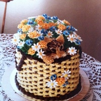 Basket Of Love Orange chocolate cake, all buttercream and royal icing flowers
