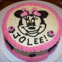 Jolee's 1St Bday 1st birthday cake...minnie smash cake and cupcakes for the guests.
