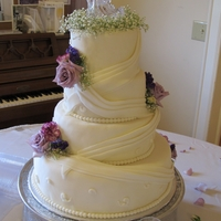 1St Wedding Cake  Bride sent me a picture of the original design. Used lots of tips from CC for the swags. First time I have done a wedding cake and swags......