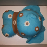 Pregnant Belly Pregnant belly for a friends baby shower...used lots of tips from CC, baked in a bowl and also an 8 inch round and carved to make belly...