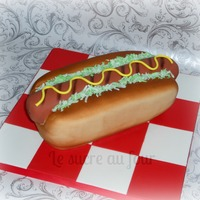 Hot Dog Cake I Love Making Food Cake The Mustard Is Made Out Of Fondant And The Cabbage From Coconutgreen Food Coloring I Also Airb Hot dog cake! I LOVE making ''food'' cake. The mustard is made out of fondant and the cabbage, from coconut+green food...