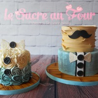 Little Man Cake And Smash Cake Little Man themed cake and smash cake with a rustic twist!The bottom tier is hand paint, top tier is rustic fondant ruffles airbrushed....