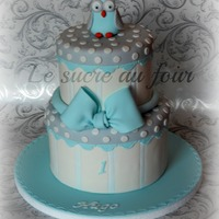 Owl Cake Inspired From The Babys Bedding Baby Blue Grey And White   Owl cake. Inspired from the baby's bedding. Baby blue, grey and white.