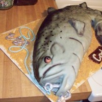 Fondant Covered Fish Fins Are Hand Made Fondant Hook Is White Chocolate   fondant covered fish, fins are hand made fondant, hook is white chocolate