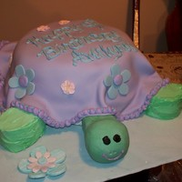 Turtle Cake   choc cake with bavarian/fudge filling, with whipped buttercream and fondant
