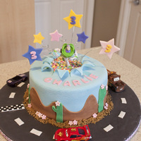 Buzz Lightyear And Flash Mcqueen birthday cake for a little girl