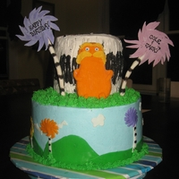 The Lorax Cake Lorax cake from my godson and his brother's combined birthday party. BC icing with fondant accents - inspiration from cakes here on CC...