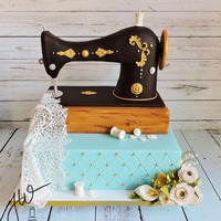 This Is Remake Of A Cake I Did Last Month That I Was Unable To Take Photos At The Time But I So Love The Look Of The Antique Sewing Machine... This is remake of a cake I did last month that I was unable to take photos at the time but I so love the look of the antique sewing machine...