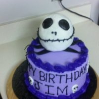 Jack Skellington Red Velvet Cake. Head is made out of RKT and Modeling Chocolate.