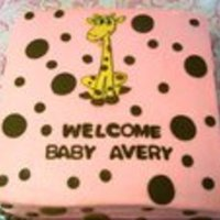 "Giraffe Baby Shower Cake This is a 12"" square cake (chocolate) with pink butter cream frosting and brown fondant dots and a giraffe that matched the shower..."