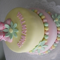 Flower Baby Shower Girl   Fondant Baby Shower cake with flowers and plastic booties.