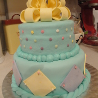 2 Tier Fondant Bow Cake my first gum paste bow